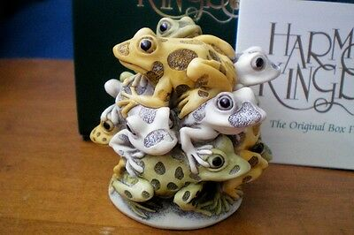 Harmony Kingdom Over the Top Frogs Marble Resin Box Figurine UK Made