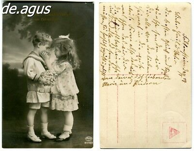 Vintage Postcard circa 1930s sweet girl with cute boy in sailor suit