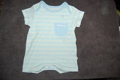 M&S Striped Romper 100% Cotton Blue Mix Age Up to 1 Month BNWOT