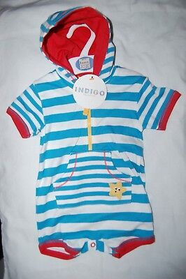 M&S  Shortie Romper with Hood 100% Cotton Blue Striped Age 3 Months BNWT