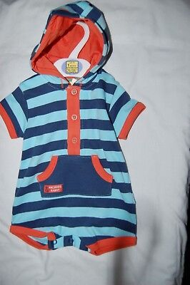 M&S One Piece Shorty Hooded Romper Blue Striped Orange Trim Age 0-1 Month BNWT