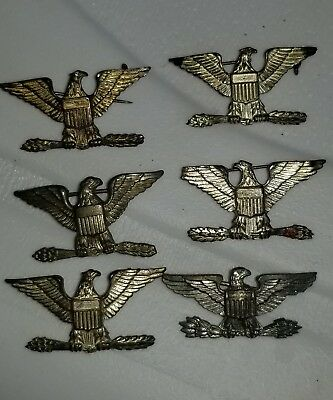 1930s WWII US Army Sterling Colonel PB  Insignia Shoulder Size Matched Set x6