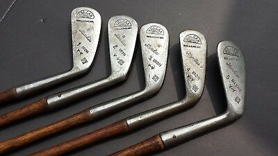 Matched Set of 5 Vulcan Stainless Hickory Wood Shaft Golf Club Antique Irons 1-5