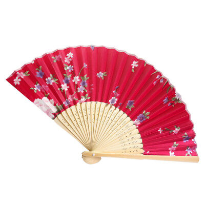Bamboo Folding Hand Held Flower Fan Chinese Style Dance Party Pocket Gift G YT8