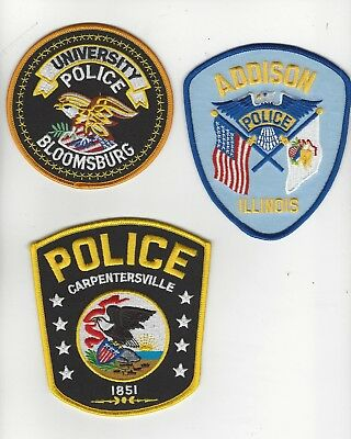 Set of 3 Different Illinois Police Patches