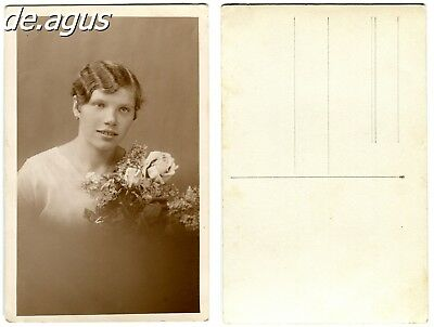Vintage Postcard Photo circa 1940s young woman with flowers