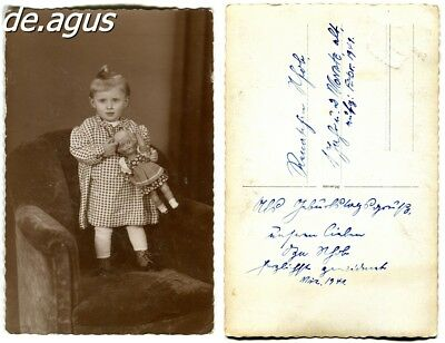 Vintage Postcard Photo from 1941 little girl with nice doll