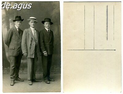 Vintage Postcard Photo circa 1940s three young men in suits with hats