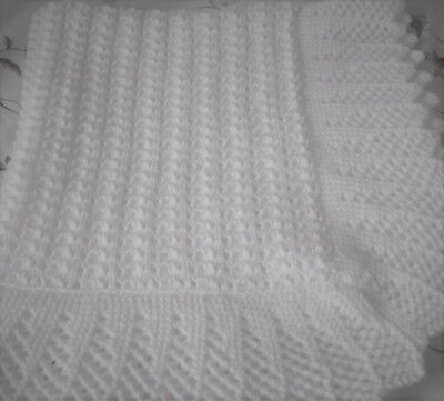 Stunning New Hand Knitted Baby Shawl/blanket 38 X 38 Ins White