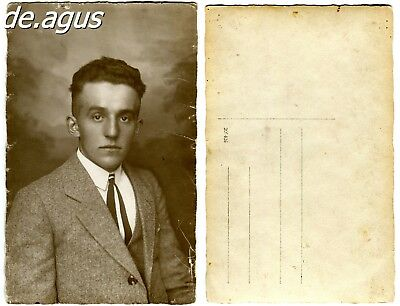 Vintage Postcard Photo circa 1930s young man in suit
