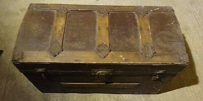 Antique domed wooden travelling chest / trunk. Blanket box