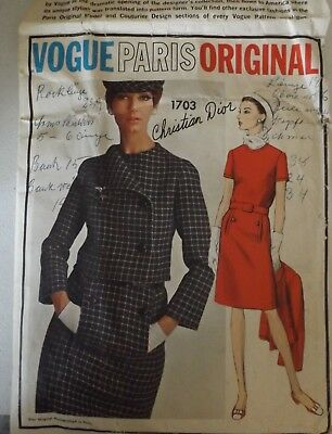 Vogue Paris Original Pattern  Christian Dior  RARE  1703  with Label size 10/33