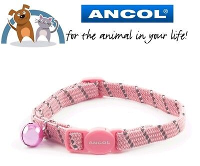 Ancol Elasticated Reflective Softweave Pink Cat Collar With Safety Buckle & Bell