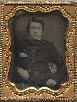 Mexican War or Early Civil War Soldier In Shell Jacket Daguerreotype