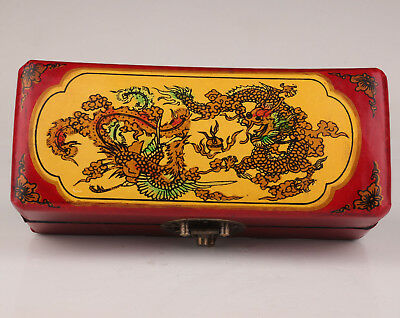 Chinese Ancient Marriage Series Dragon Phoenix Yellow Red Jewelry Box