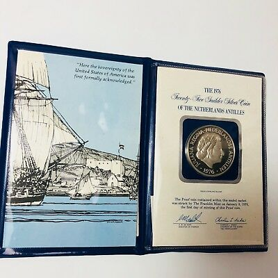 1976 25G Guilder .925 Silver Proof Coin The Netherland Antilles Sealed W/ Cert