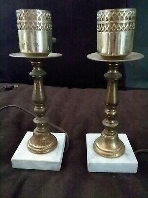 VINTAGE PAIR of BRASS & MARBLE TABLE / MANTLE LAMPS with BRASS FILIGREE DETAIL
