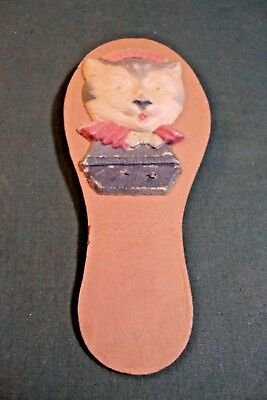 Vintage Kitty Kat Handheld Rattle 2 Sided Germany