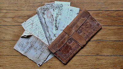 Circa 1830-1840 Tooled Antique Leather Wallet Journal Handwritten Letter Rare