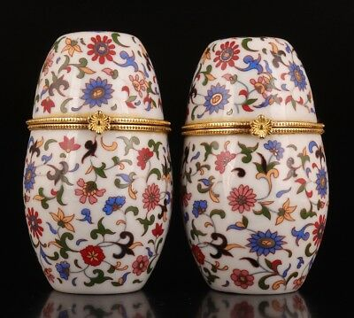 2 Porcelain Toothpick Box Retro Japanese Style Painting Flowers