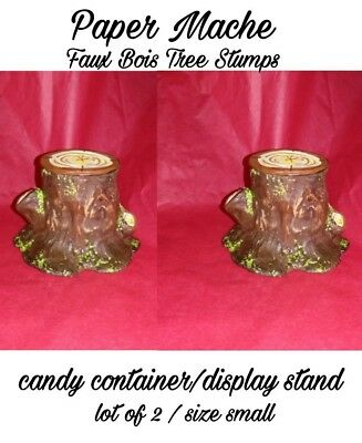 Lot of 2 Paper Mache stump/log candy container/display stand for figures small#3
