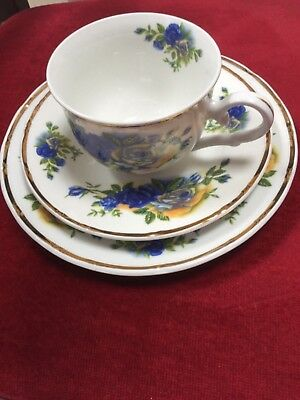 Pretty tea set for one with cup, saucer and side plate in vgc