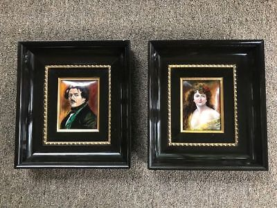 Two Enamel Limoge Picture FJ Carmona Victorian Lady and Man Framed Portrait