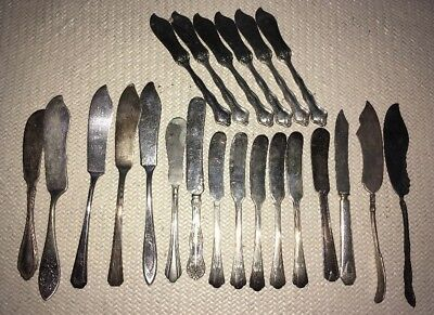 22 Antique/Vintage BUTTER KNIVES (2 TWISTED) Silver-Plated