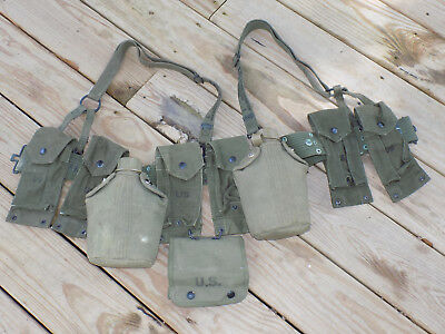 Vietnam US Army M1956 Webgear Belt/Suspenders Canteens & Ammo Pouches