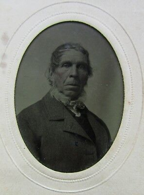 ANTIQUE TINTYPE 1880s NATIVE AMERICAN MALE INDIAN PORTRAIT HEAD SHOT PHOTOGRAPH
