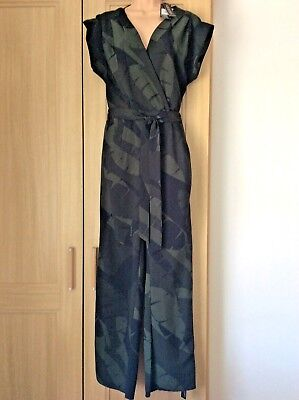 BNWT Ben De Lisi for Principles Khaki tropical print Jumpsuit 12 rrp £45