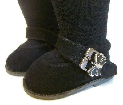 """For 18"""" American Girl Black Suede Butterfly Buckle Casual Shoes Doll Clothes"""