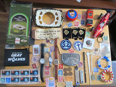 Junk Drawer Lot estate sale old coins watches jewelry vtg stamps ZEE FERRARI