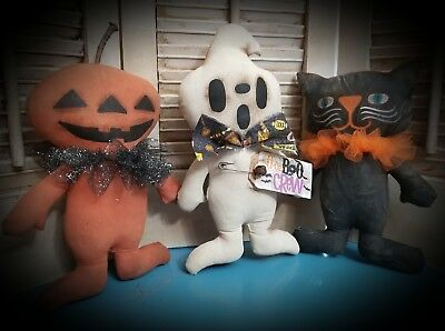 Primitive Halloween Pumpkin, Cat, & Ghost Doll Ornies  ~The Boo Crew~