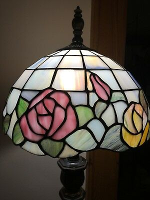 """Vintage Tiffany Style Stained Glass Lamp Shade Pink Yellow Flower 12"""" leaded"""