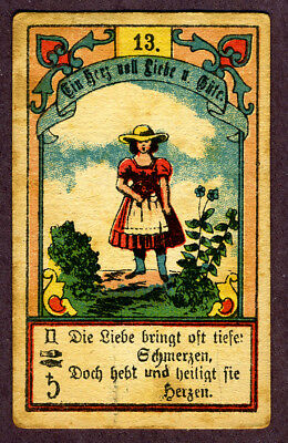 antique fortune telling cards,  with couplets in German