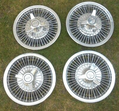 """1966-67 Chevy 14"""" Wire 3-bar Spinner Hubcaps Impala Chevelle El Camino  Caprice"""