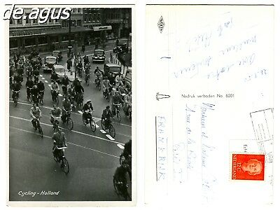 Commercial Photo stamped 1950 cycling -Holland,classic cars