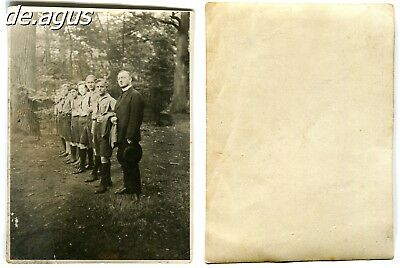 Vintage Photo circa 1930s lined up from boys  with young man , Forest