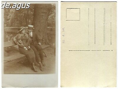 Vintage Postcard Photo from 1920 people sitting on bench,amazing fox stole