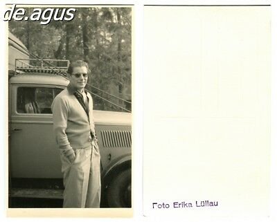 Vintage Postcard Photo circa 1950s young man with sunglasses,classi car