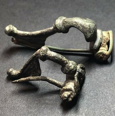 *RECOMMENDED* 2 X Ancient Imperial Roman Fibula Brooches. Uncleaned As Found.