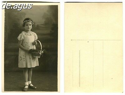 Vintage Postcard Photo circa 1930s sweet girl with basket of flowers