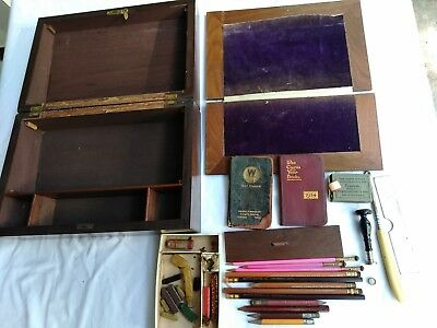 Vtg Worker's Wood Box With Contents And 1914 & 1917 Diary Small Yearbooks