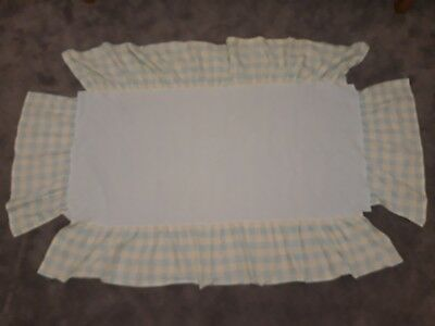 Mamas and papas Unisex Pale Yellow & Aqua Blue Checked cot vallance sheet