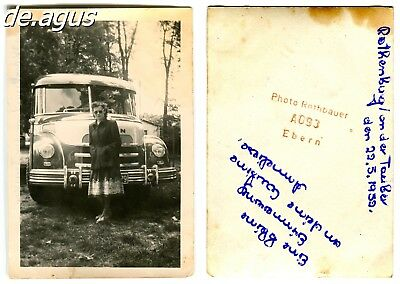 Vintage Photo from 1952 Rothenburg a.d. Taube,woman with amazing Bus