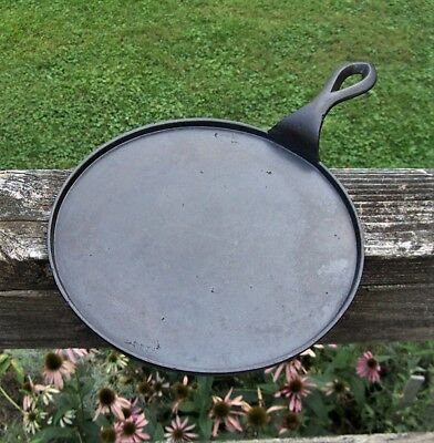 Antique 1800's Gate Marked Cast Iron Handle Griddle w/ Heat Ring