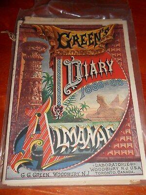 "1882/83 Greens Diary Almanac, Woodbury NJ  - 6 3/4"" by 9"""