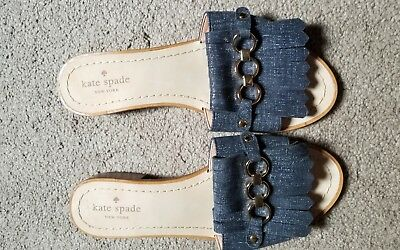 KATE SPADE NEW YORK BRIE OPEN TOE DENIM COLOR LEATHER SANDALS Size 7.5M