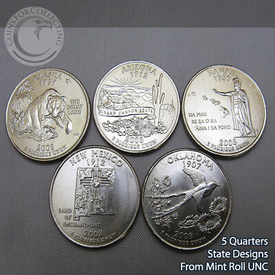 2008-P WASHINGTON STATE QUARTER SET PHILLY - 5 Designs from Mint Rolls UNC